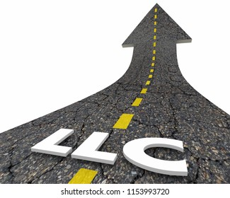 LLC Limited Liability Corporation Business Model Road Word 3d Illustration