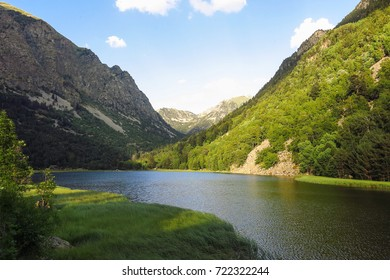 Llebreta pond. Panorama to Aiguestortes National Park in the Catalan Pyrenees, Catalonia, Spain