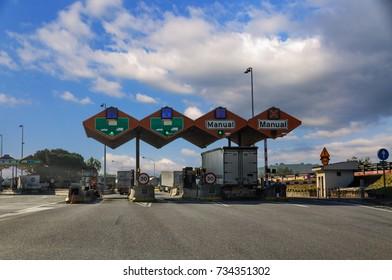 Lleida, Spain - October 28, 2010: Paid Highway in Spain. Entrance of Speedway