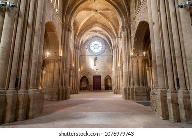 LLEIDA,SPAIN-JUNE 7,2016: Old Cathedral, interior cloister,Catedral de Santa Maria de la Seu Vella, gothic style, iconic monument in the city of Lleida, Catalonia.
