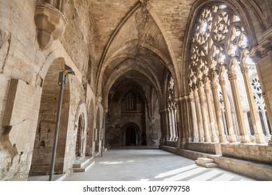 LLEIDA,SPAIN-JUNE 7,2016: Old Cathedral, interior cloister,Catedral de Santa Maria de la Seu Vella, gothic style, iconic monument in the city of Lleida, Catalonia.