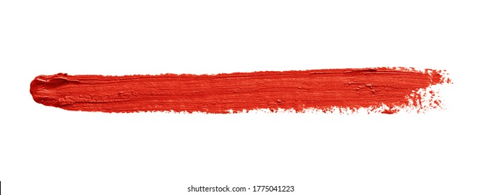 Llipstick brush stroke isolated on white background. Red color makeup smear smudge swatch texture