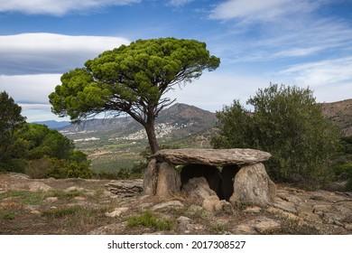 Llit de la Generala Dolmen, Megalithic Tomb in Roses, Alt Empodra, Catalonia - Shutterstock ID 2017308527
