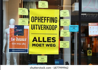 llLeiden, The Netherlands - December 14, 2020: In the city center of Leiden, many shops and business premises are vacant and for rent, mainly due to the lockdown in connection with covid-19