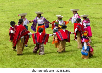 Lloa, Ecuador - 21 December 2011: Group Of Ecuadorian Dancers Dressed Up In Traditional Costumes Dancing For The Spring Festival In Lloa On December 21, 2011
