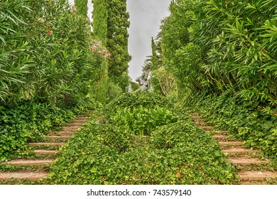 Lloret de Mar, Costa Brava, Catalonia, Spain - September 9, 2016: The gardens of St. Clotilde were created in 1919 and recognized as a national treasure, the monument of garden culture.