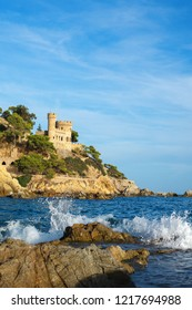 Lloret de Mar. September 2018. Spain. View of the fortress on the rock on a Sunny day. Seascape