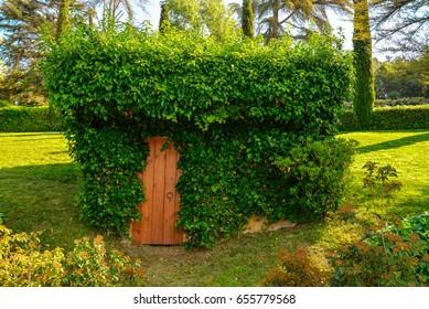 Lloret de Mar, Spain - April 11, 2017:Beautiful building coverd with ivy in the Santa Clotilde Gardens in Lloret de Mar.