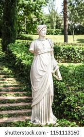 LLORET DE MAR, SPAIN - JULY 18, 2018: Marble sculpture in Santa Clotilde Gardens, Catalonia, Spain