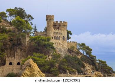 Lloret de Mar / Spain - June 27, 2018: Castell d'en Plajan on the Costa Brava in Lloret de Mar, Spain.