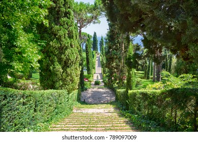 Lloret de Mar, Spain - JUNE, 2016. Santa Clotilde gardens (Jardines de Santa Clotilde) in summer. Beautiful landscape with decorative step ladder in the garden. Costa Brava. Horizontal Wallpaper
