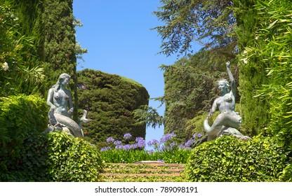 Lloret de Mar, Spain - JUNE, 2016. Santa Clotilde gardens (Jardines de Santa Clotilde) in summer. Beautiful landscape with statues of mermaids decorating the garden. Costa Brava, Catalonia, Spain.