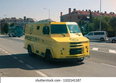 Lloret de Mar, Spain-October 5, 2017: Armored car to transport money