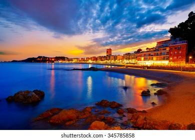 Lloret de Mar sunset at Costa Brava of Girona at Catalonia spain