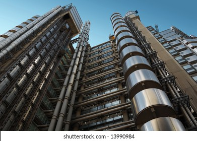 The Lloyd's building, a futuristic steel giant in London