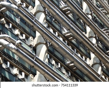 Lloyds of London insurance and underwriting city of London side of building with pipes and abstract shapes