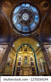 LLUC, MALLORCA, SPAIN - OCT 2, 2018: Beautiful paintings of The Saints inside of the Santuari de Lluc church on Mallorca
