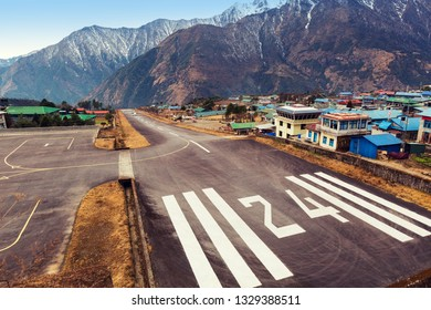 LLUKLA/NEPAL, February 01 2019 Lukla village and Lukla airport, Nepal Himalayas, Lukla is gateway for Everest trek and Khumbu valley.