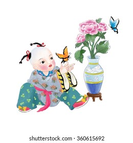 """llustration of traditional Chinese Pattern and Drawing """"Spring is coming"""" E23"""