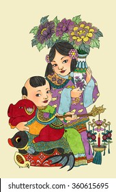 llustration of traditional Chinese Pattern and Drawing W11