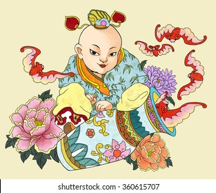 llustration of traditional Chinese Pattern and Drawing W10