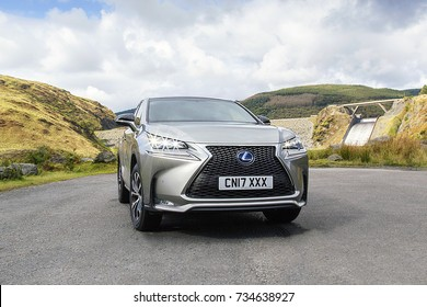 Llyn Brianne, Wales, UK: September 17, 2017: A new Lexus NX 300h F-Sport crossover hybrid car parked in a rural location in Wales.