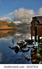 Llyn Gwynant reflections on a cold winters day in the Snowdonia National Park Wales