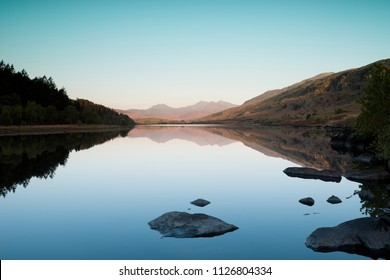 Llynnau Lake in Snowdonia National Park Gwynedd North Wales