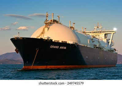 LNG carrier Grand Aniva at sunset on the roads of the port of Nakhodka. Far East of Russia. East (Japan) Sea. 31.03.2014