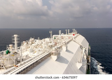 LNG carrier in open sea during daytime. LNG carrier.