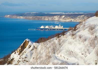 LNG carrier at the pier, view from the hill, Sakhalin, Russia