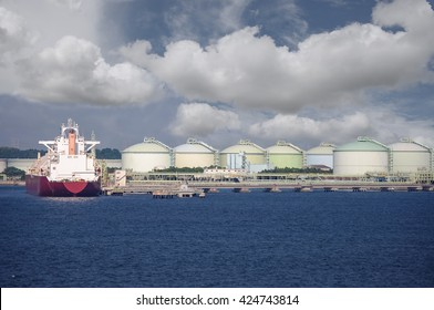 LNG Gas tanker loading in port