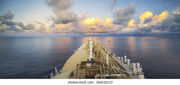 An LNG (Liquefied Natural Gas) Vessel sailing through the Indian Ocean