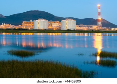 LNG plant in the night, Sakhalin, Russia