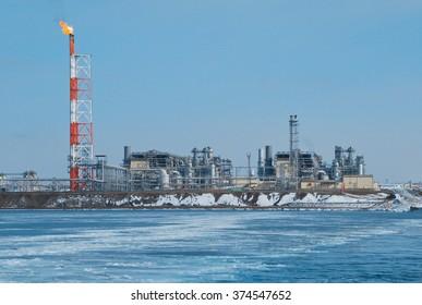 "LNG plant ""Prigorodnoe"", Aniva bay, Sakhalin, Russia"