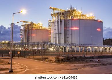 LNG storage tanks, LNG terminal in Swinoujscie, Poland