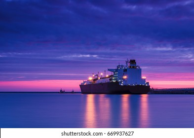 LNG TANKER AT DAWN - Sunrise over the gas terminal