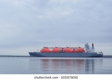 LNG TANKER - A large ship at the LNG terminal