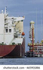 LNG TANKER MOORED AT THE GAS TERMINAL IN THE PORT OF SWINOUJSCIE