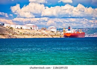 LNG terminal on Krk island view, energy port in Croatia