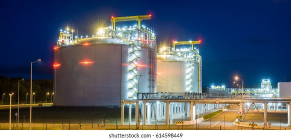 LNG terminal in Swinoujscie,Poland.Night photo