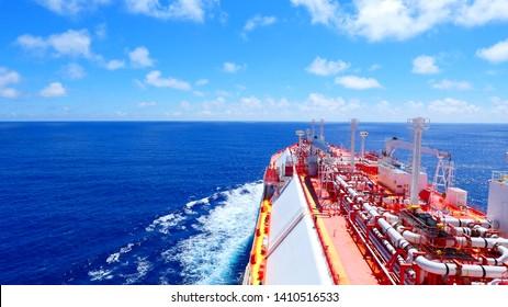 LNG vessel crossing atlantic ocean during good weather