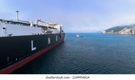 LNG-tanker is anchored in the road.