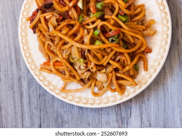 Lo mein overhead view