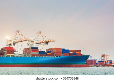 Load Containers to cargo ship in Trade Port