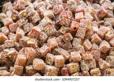 Load of traditional turkish delight rahat lokum
