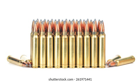 Loaded cartridges. 300 Magnum.  On white background.