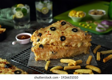 Loaded Cheese Sandwich with dark background