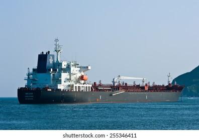 Loaded tanker BW Lynx anchored in the roads. Nakhodka Bay. East (Japan) Sea. 01.08.2014
