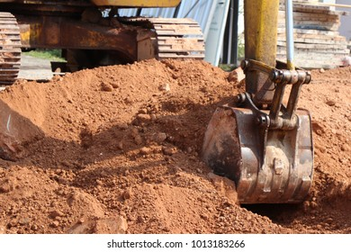 Loader backhoe,excavator digging a trench,Work of excavating machine on building construction site